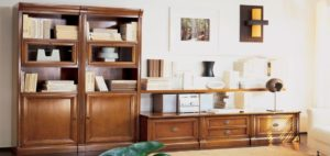LeFablier Le Gemme parete soggiorno libreria classico legno living studio tv arredamento interni mobili righetti novara