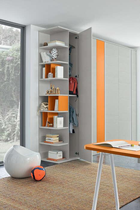 Colombini Casa Cameretta Golf armadio grigio e arancio 084 b
