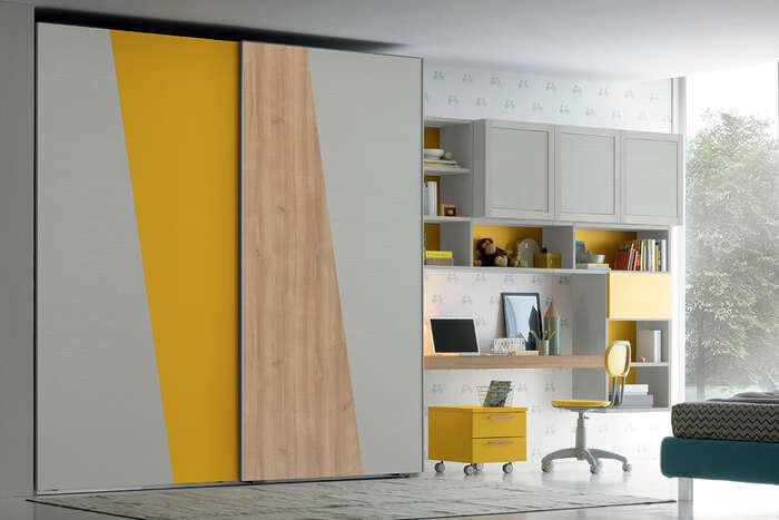Colombini Casa Cameretta Golf armadio grigio e giallo 048 049