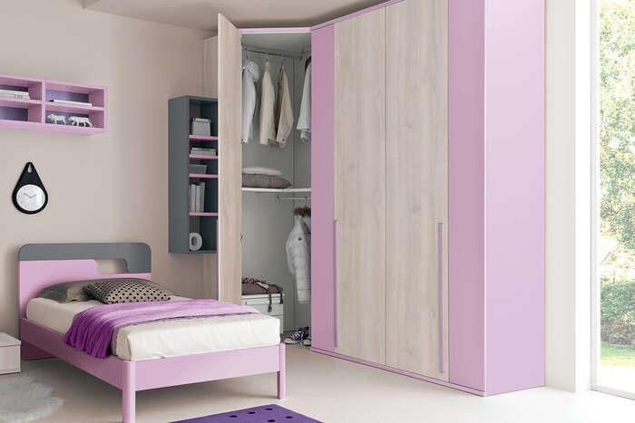 Colombini Casa Cameretta Golf armadio legno e rosa 108
