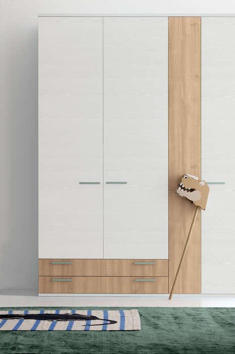 Colombini Casa Cameretta Golf armadio neutro bianco e legno 044