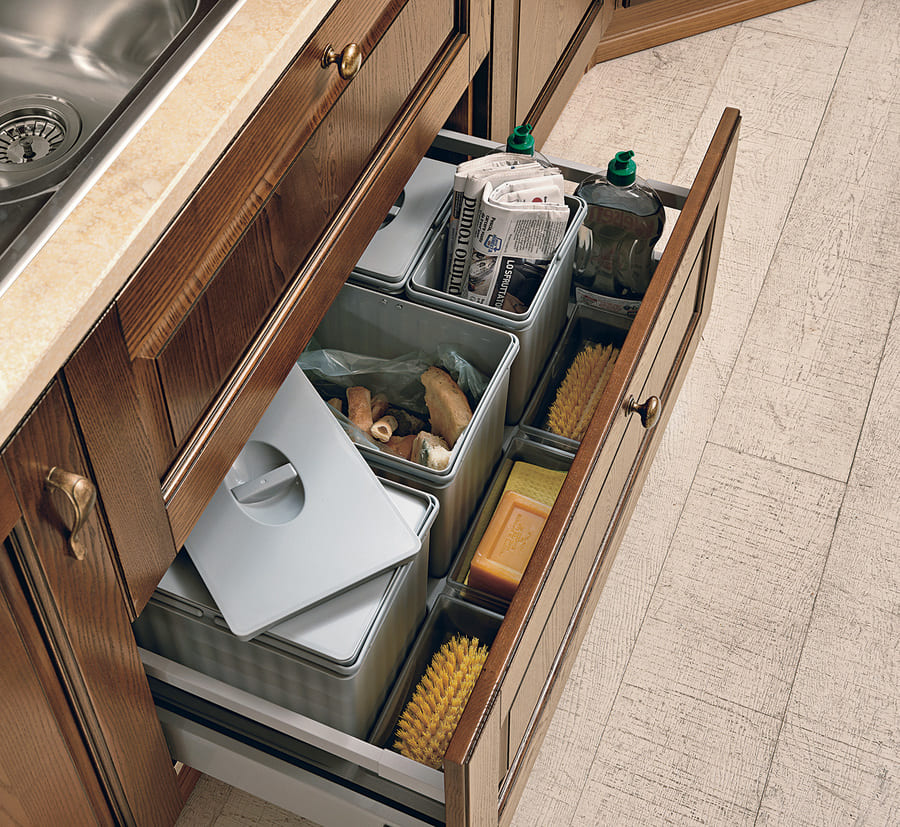Colombini Casa Cucina Classica Armonia cassetti per rifuiti differenziati 70c