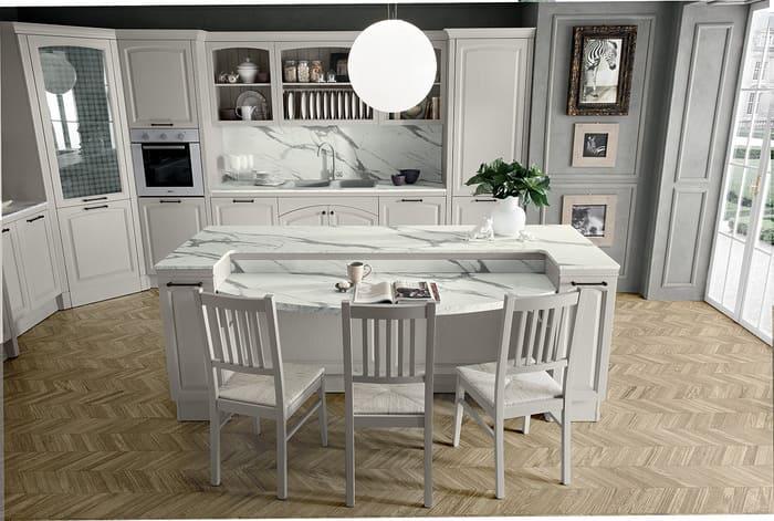 Colombini Casa Cucina Classica Mida isola con piano marmo 10