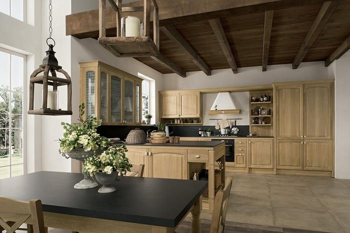 Colombini Casa Cucina Classica Mida legno e piano nero 82