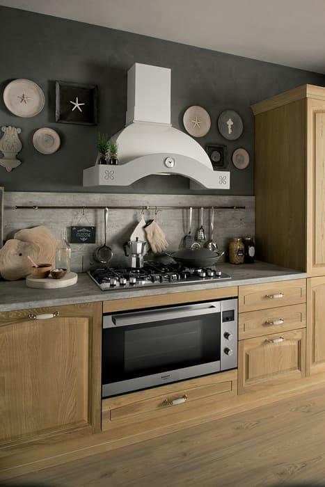 Colombini Casa Cucina Classica Mida piano grigio e sportelli rovere 115