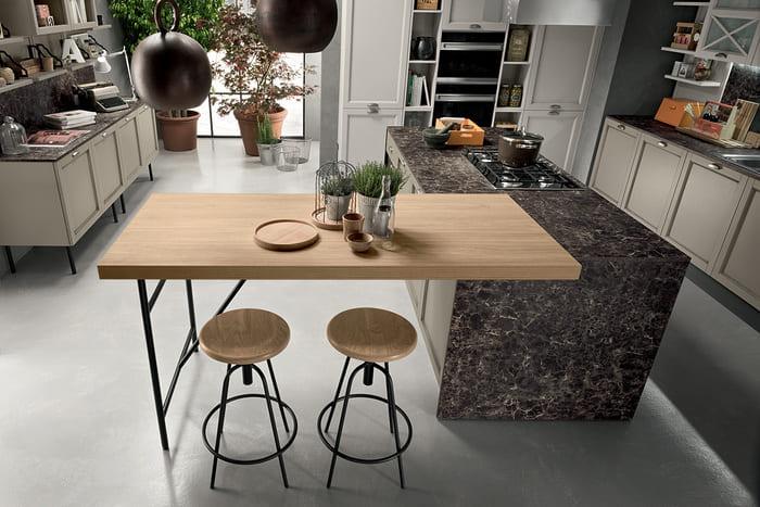 Colombini Casa Cucina Classica Sinfonia con tavolo isola in legno 94
