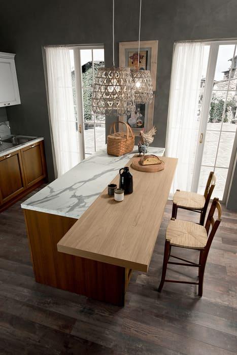 Colombini Casa Cucina Classica Sinfonia isola piano marmo e legno 43