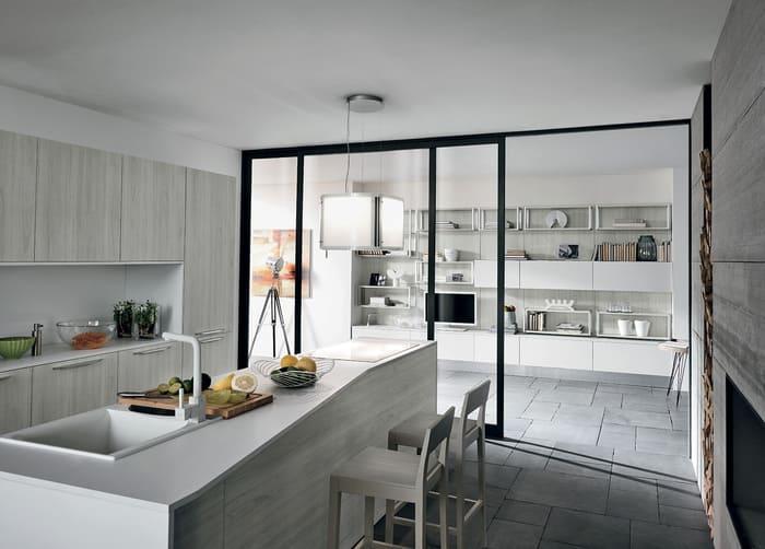Colombini Casa Cucina Moderna Essenza abbinata con zona giorno 72 73