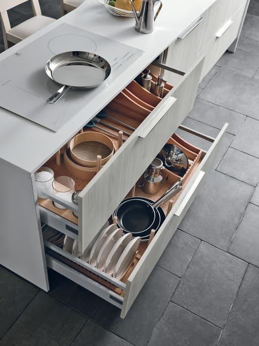 Colombini Casa Cucina Moderna Essenza cassetti multifunzionali 71A