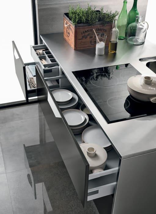 Colombini Casa Cucina Moderna Essenza cassetti profondi porta pentole 95A