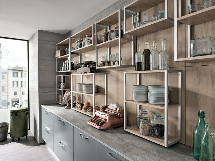 Colombini Casa Cucina Moderna Essenza elementi giorno rovere naturale e acciaio 34C