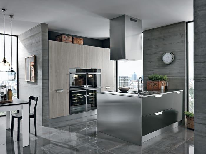 Colombini Casa Cucina Moderna Essenza isola con acciaio 88 89