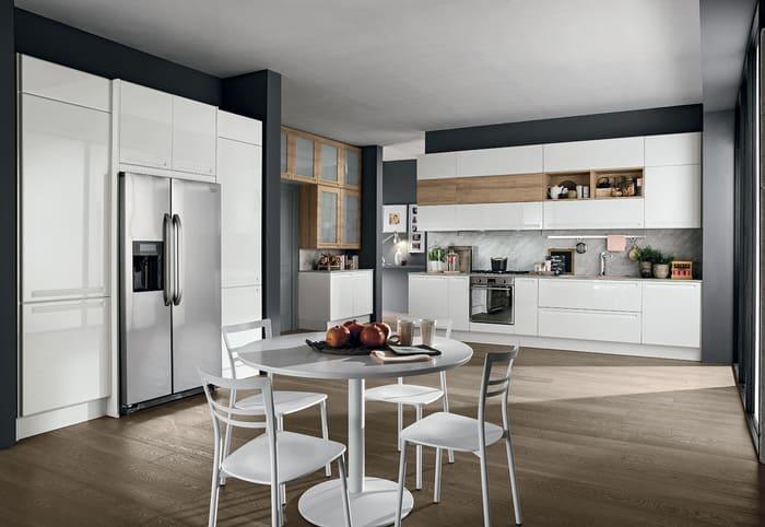 Colombini Casa Cucina Moderna Isla bianco ghiaccio e legno 78 79