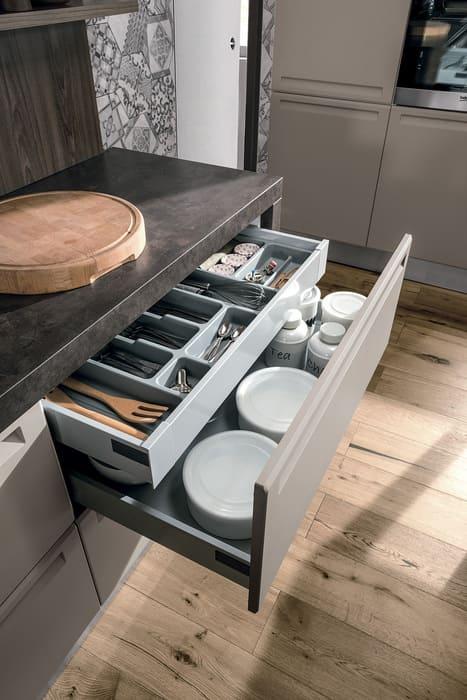 Colombini Casa Cucina Moderna Isla cassetto con interno ripartito 69b