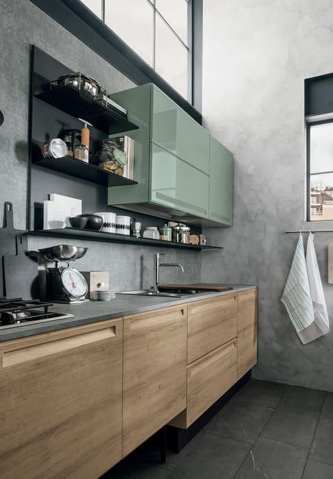 Colombini Casa Cucina Moderna Isla pensili verdi e sportelli olmo 31