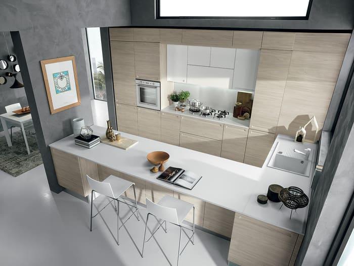 Colombini Casa Cucina Moderna Isla piano bianco esportelli olmo 47