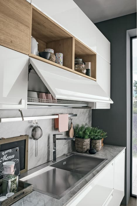 Colombini Casa Cucina Moderna Isla porta piatti con vasistas 83a