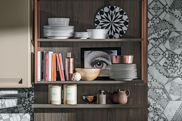 Colombini Casa Cucina Moderna Isla scaffali legno 58 59