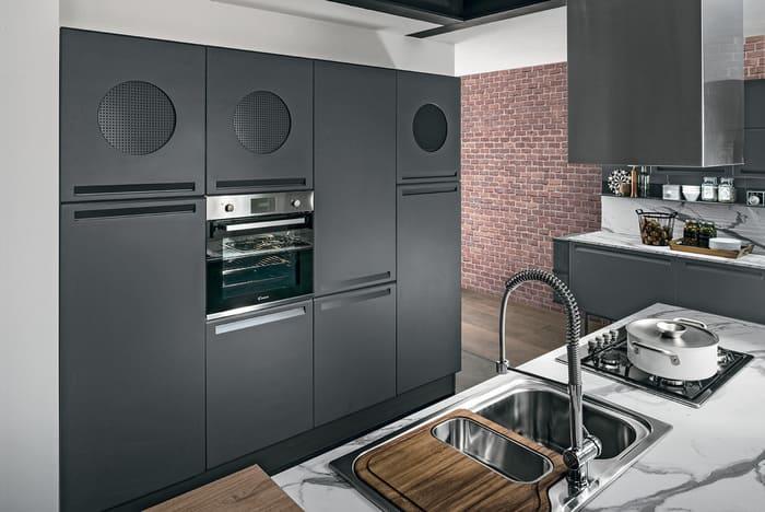 Colombini Casa Cucina Moderna Isla sportelli grigio grafite satinato 17a