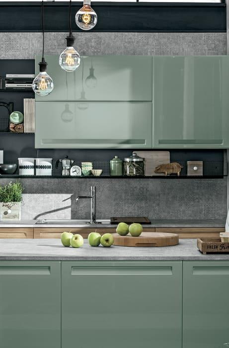 Colombini Casa Cucina Moderna Isla verde per stile industriale 33