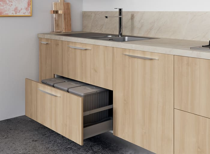 Colombini Casa Cucina Moderna Paragon cassetti porta rifiuti 58b