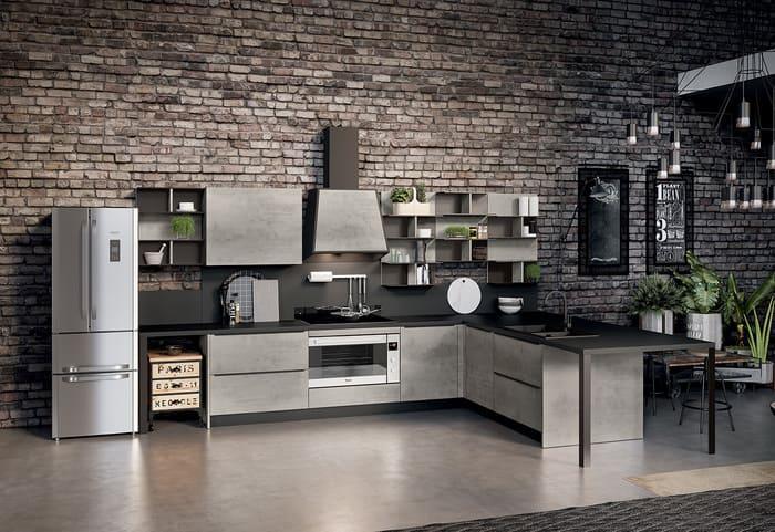 Colombini Casa Cucina Moderna Paragon sportelli grigio cemento 38 39