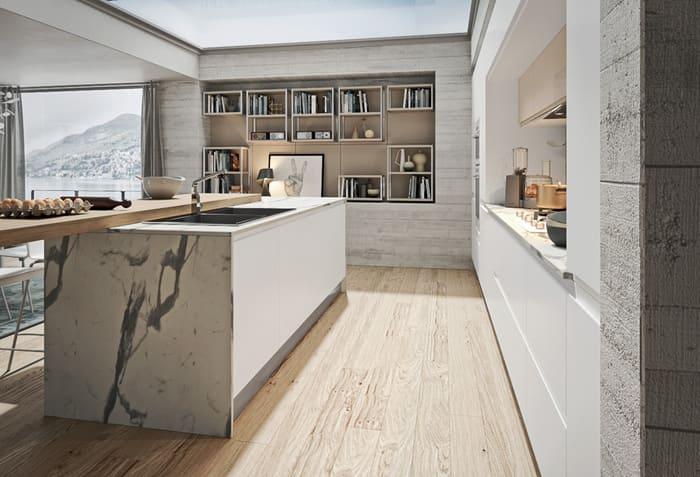 Colombini Casa Cucina Moderna Pura bianca con isola marmo 12b