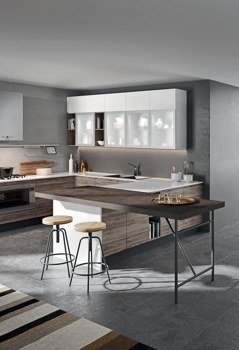 Colombini Casa Cucina Moderna Pura con tavolo isola 40