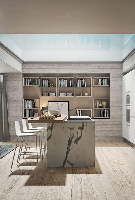 Colombini Casa Cucina Moderna Pura isola con marmo 14