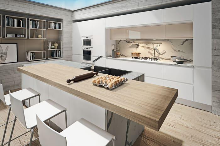 Colombini Casa Cucina Moderna Pura isola legno e marmo 6 7