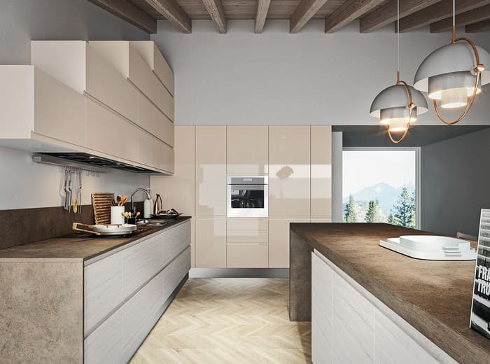Colombini Casa Cucina Moderna Pura laccata lucida sabbia 30