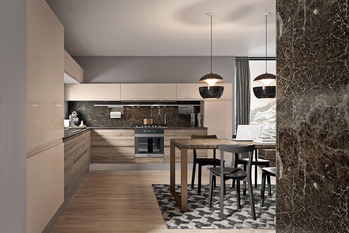 Colombini Casa Cucina Moderna Pura pensili sabbia sportelli rovere 64 65