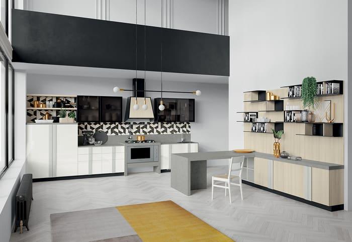 Colombini Casa Cucina Moderna Quadra abbinata con living 54