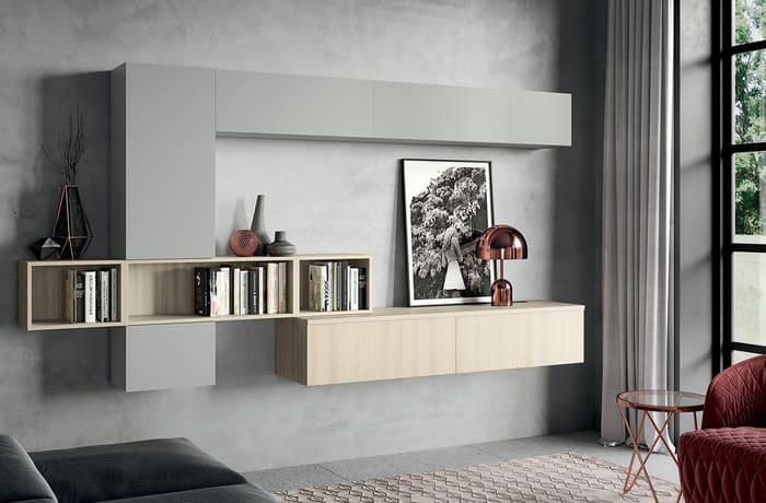 Colombini Casa Cucina Moderna Quadra abbinato a mobile living 70 71