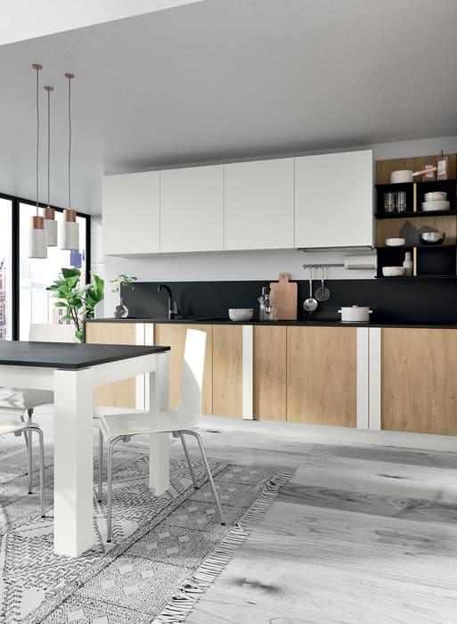 Colombini Casa Cucina Moderna Quadra ante bianche e legno COPERTINA 1