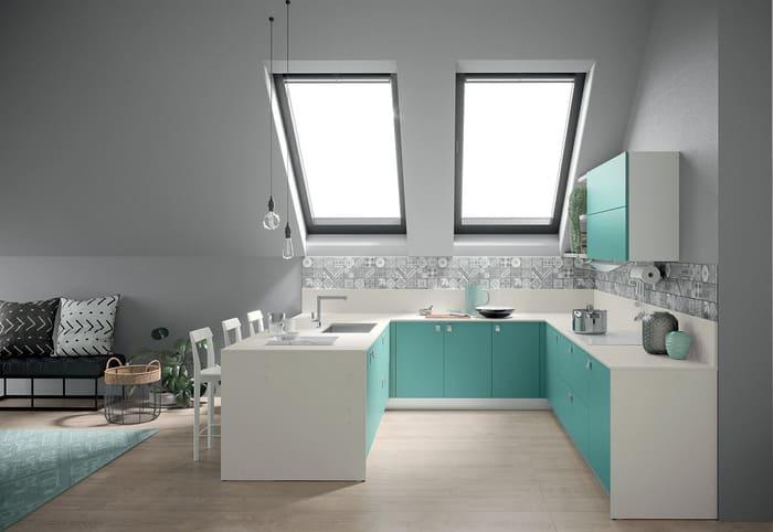 Colombini Casa Cucina Moderna Quadra bianca e celeste 30 31