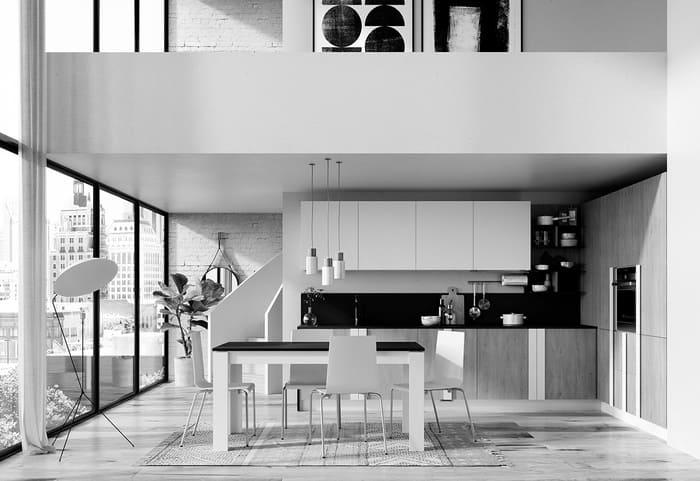 Colombini Casa Cucina Moderna Quadra bianco opaco e royal oak 44 45
