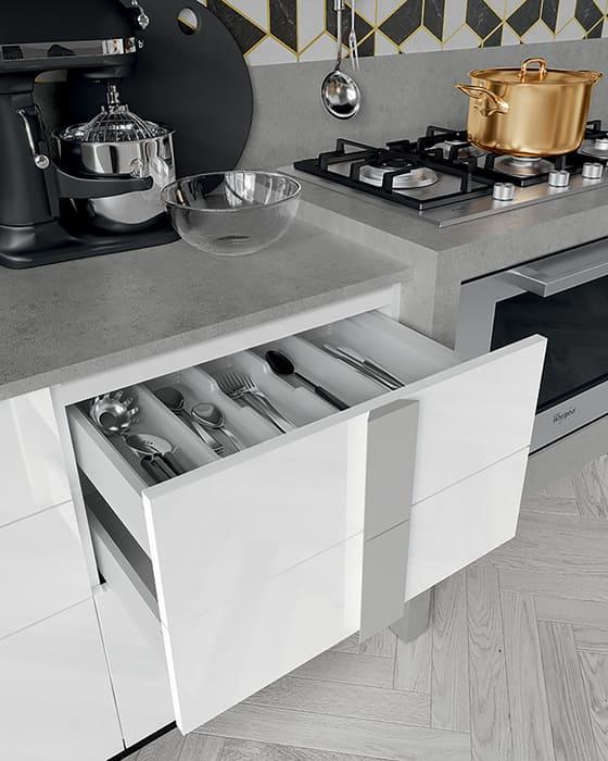 Colombini Casa Cucina Moderna Quadra cassetti portaposate 53c