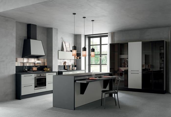 Colombini Casa Cucina Moderna Quadra con isola grigia chiara e scura 62