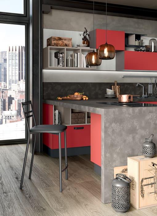 Colombini Casa Cucina Moderna Quadra con sportelli rossi 81
