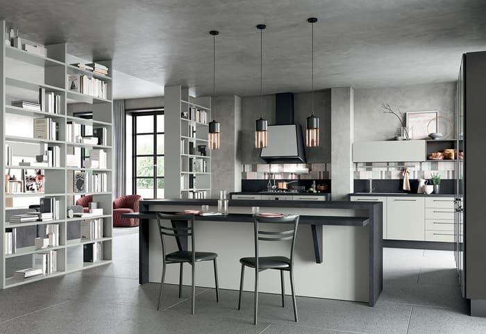 Colombini Casa Cucina Moderna Quadra grigio titanio e chiaro 60 61