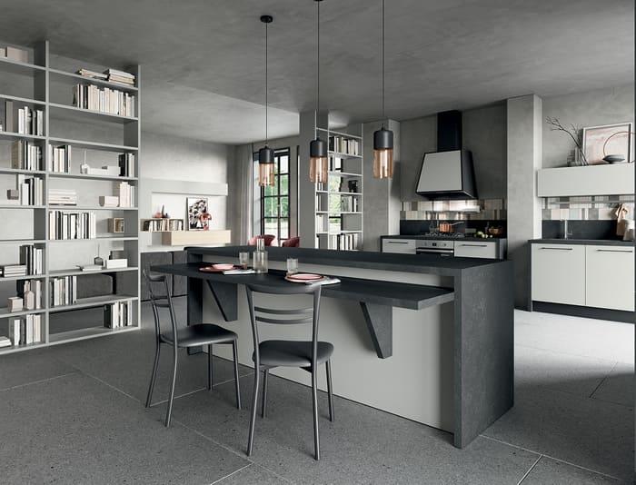 Colombini Casa Cucina Moderna Quadra isola con mensola reclinabile 64