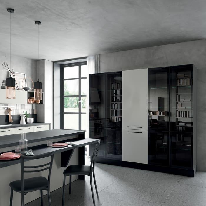 Colombini Casa Cucina Moderna Quadra mobile con ante vetro 69