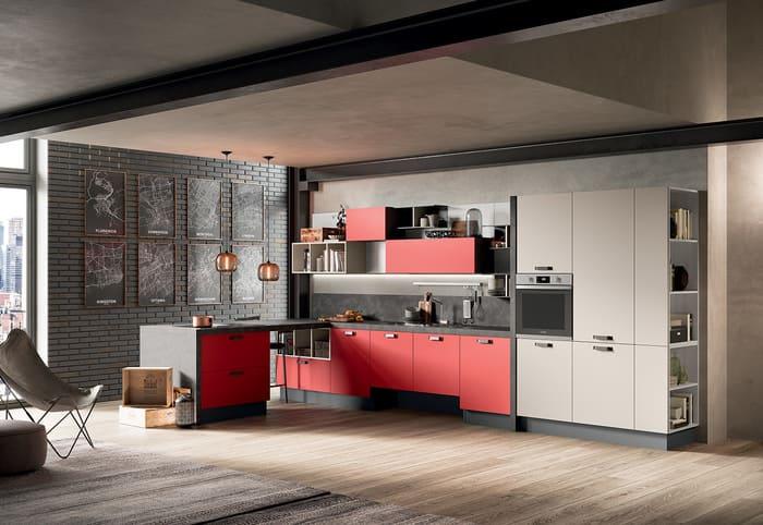 Colombini Casa Cucina Moderna Quadra rooso e canapa 78 79