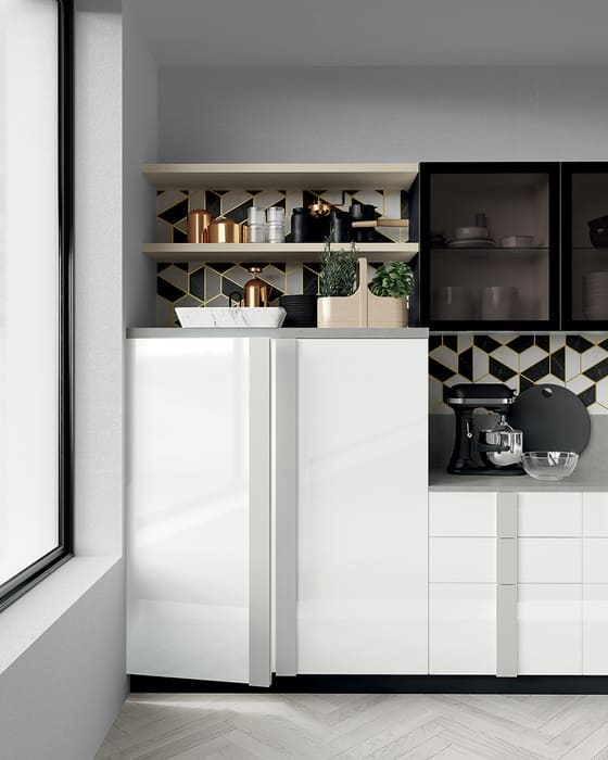 Colombini Casa Cucina Moderna Quadra sportelli bianchi e grigi 53b