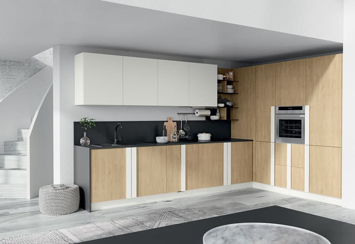 Colombini Casa Cucina Moderna Quadra sportelli legno naturale 38 39