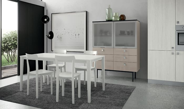 Colombini Casa Cucina Moderna Quadra tavolo e sedie abbinate 29a