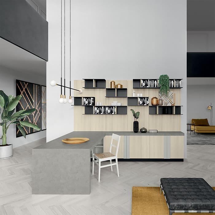 Colombini Casa Cucina Moderna Quadra tavolo penisola ccordinato piano 55
