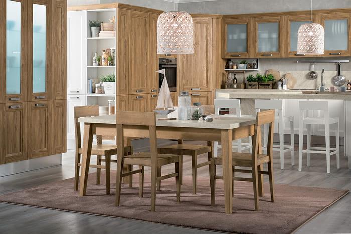 Colombini Casa Cucina Moderna Riviera abbinata con tavolo e sedie 83c