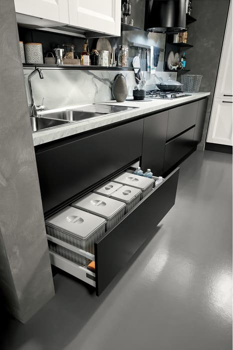 Colombini Casa Cucina Moderna Riviera cassetti rifuiti differenziati 73b
